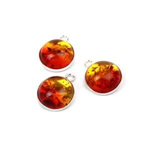 Baltic Ruby Red Ombre Amber Round Cabochons, 12mm & Sterling Silver Bezels 13x16mm (3pk)