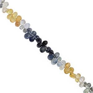 12cts Multi-Colour Sapphire Top Side Drill Faceted Drop Approx 2x2 to 4x3mm, 10cm Strand with Spacers