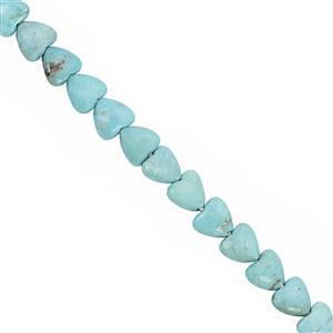 18cts Arizona Turquoise Centre Drill Smooth Puff Heart Approx 6mm, 15cm Strand