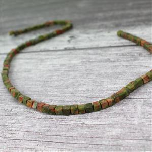 80cts Unakite Cube Approx 4mm, 38cm strand