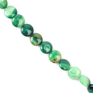 120cts Green Stripe Agate Puffy Coins Approx 10mm, 38cm/strand