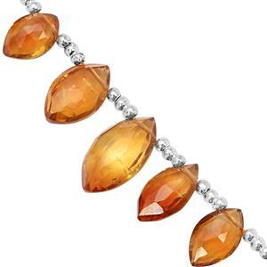 18cts Madeira Citrine Top Side Drill Graduated Faceted Marquise Approx 7x4.5 to 13.5x8mm, 11cm Strand with Spacers