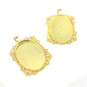 Gold Colour Fancy Oval Bezel Pendant Approx 38x54mm (Set of 2)
