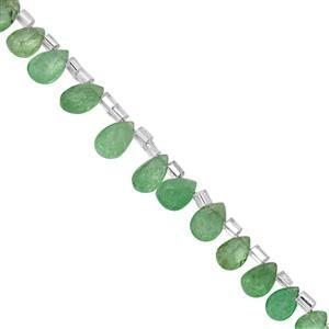 12cts Tsavorite Garnet Top Side Drill Faceted Pear Approx 6x4 to 8x5mm, 10cm Strand with Spacers