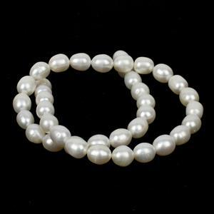 White Freshwater Rice Pearls Approx 8x10 - 9x11mm, 38cm Strand