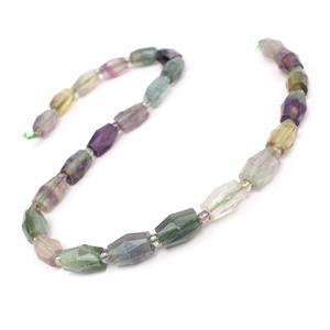 210cts Fluorite Faceted Rice Beads Approx 13x9mm, 38cm Strand
