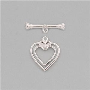 The Diamond Collection: 925 Sterling Silver Heart Toggle Clasp T-Bar Approx 20x5mm & Heart Approx 18x15mm Inc. 0.02cts Diamond Brilliant Round
