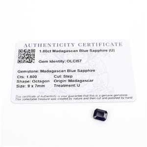 1.8cts Madagascan Blue Sapphire 9x7mm Step  (U)
