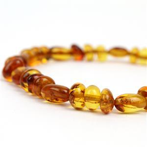 Baltic Cognac Amber Olives & Rounds, 20cm Strand (Olives: 11x6mm, Rounds: 5-6mm)