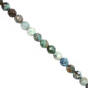 55cts Chrysocolla Faceted Round Approx 4 to 5.50mm, 38cm Strand
