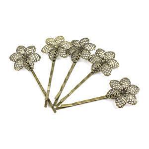 Antique Bronze Base Metal Floral Filigree Bobby Pin Blanks, 20x5mm (5pk)