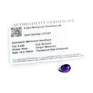 4.2cts Moroccan Amethyst Pear Brilliant 14x10mm