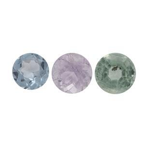 0.25cts Multi Gemstones (N) Brilliant Round Approx 3mm, (Pack of 3)