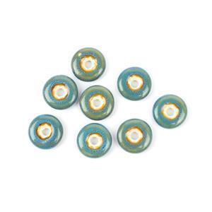 Blue Ceramic Donut Beads, 21x6mm (8pk)