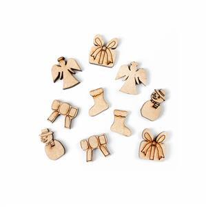 MDF Christmas Earring Collection Inc 5 x Tiny Designs; Bow, Angel, Present, Stocking & Snowman.
