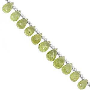 35cts Peridot Top Side Drill Graduated Faceted Drops Approx 5x3 to 8x5mm, 17cm Strand with Spacer