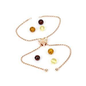 Amber & Rose Gold Plated Sterling Silver Heart Slider Bracelet Mini Make