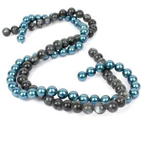 Double Trouble 8mm Plain Rounds Bundle - Larvikite and Deep Teal Shell