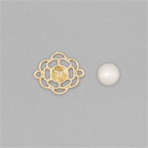 9k Gold Pearl Connector Mount Fits 7mm Round Inc. Freshwater Cultured Pearl Round Cabochon 7mm Round