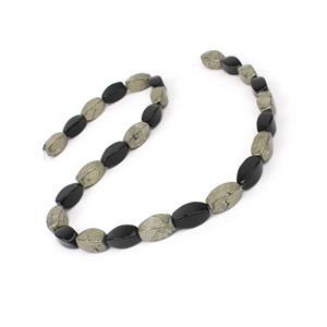 "250cts Pyrite and Black Obsidian Swirl Drums Approx 7x14mm, 15"" Strand"