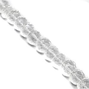 98cts Clear Quartz Faceted Rondelle Approx 7x3 to 9.2x9mm, 18cm Strand