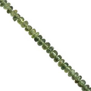 22cts Green Apatite Graduated Smooth Rondelle Approx 2x1 to 4.5x2mm, 19cm Strand