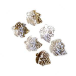 Leaf Shaped Shell Pearl Pendants Approx 55x50mm (6pcs)