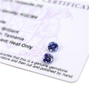 0.8cts  Tanzanite 5x5mm Round Pack of 2 (H)