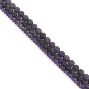 """350cts Amethyst Frosted Rounds Approx 4, 6, 8mm, 15"""" Strands"""