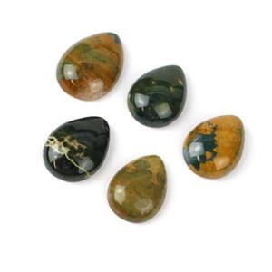 170cts Ocean Jasper Pear Cabochons Approx 22x29 to 28x38mm, 5pcs/pack
