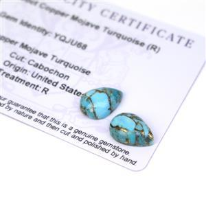 7.3cts Copper Mojave Turquoise 14x10mm Pear Pack of 2 (R)