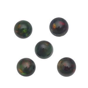 0.65cts Ethiopian Black Opal 4x4mm Round Pack of 5 (S)