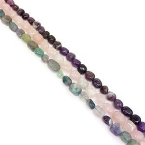 1136cts Rose Quartz, Amethyst & Multi Fluorite Oval Nuggets Approx 8 to16mm, 38cm Strands (Set of 3)