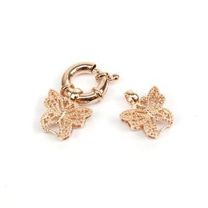 Rose Gold 925 Sterling Silver Butterfly Ends Jumbo Clasp Approx 12mm