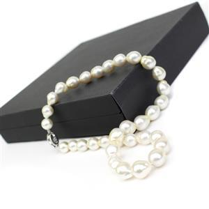 Champagne South Sea Cultured Pearl Sterling Silver Graduated Necklace (10-12mm)