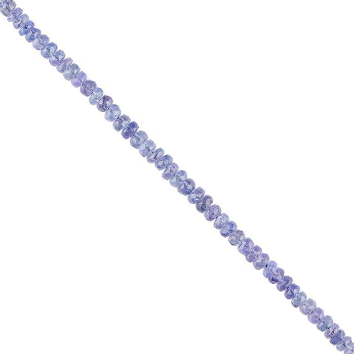 20cts Tanzanite Graduated Faceted Rondelles Approx 2x1 to 3x2mm, 16cm Strand.