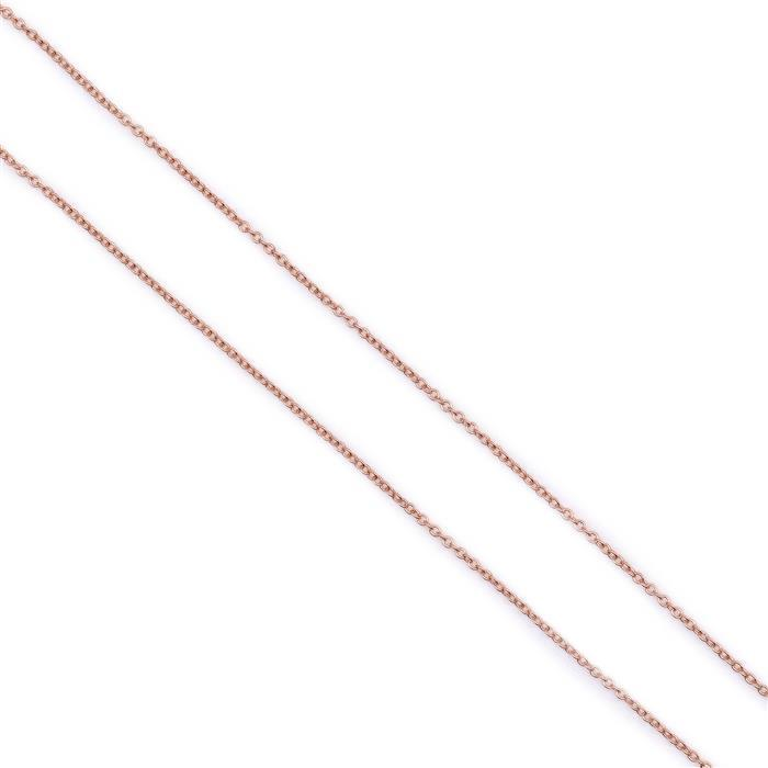 Rose Gold Plated 925 Sterling Silver Cable Chain Approx 45cm/18