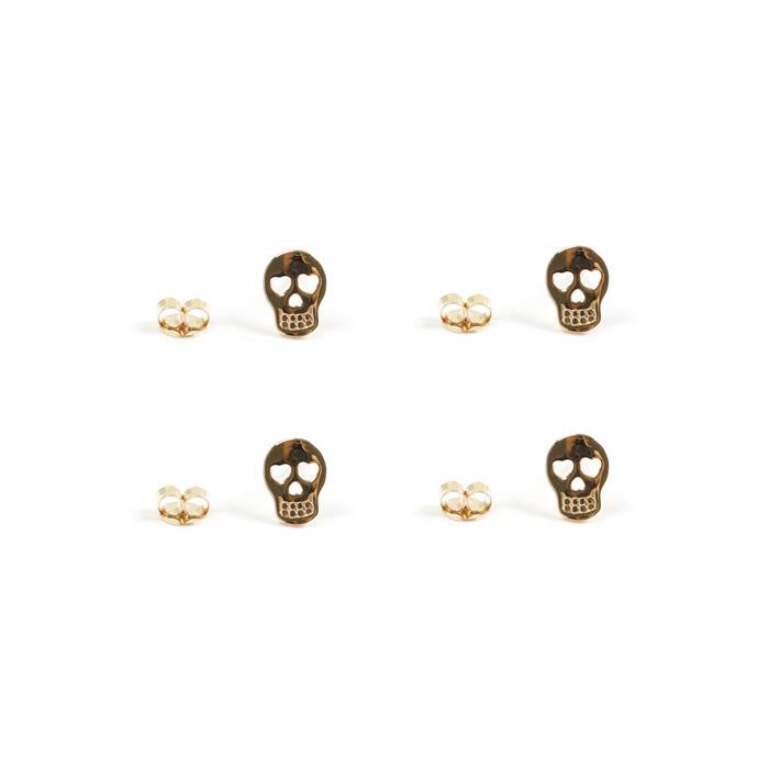 Gold Plated 925 Sterling Silver Sugar Skull Earring with Butterfly Approx 8x6mm 2 Pairs