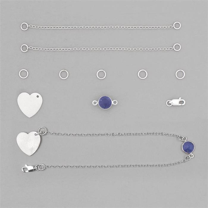 Birthstone Kit: 925 Sterling Silver Bracelet Kit Inc. 1.95cts Tanzanite Brilliant Round Approx 8mm (10pcs)