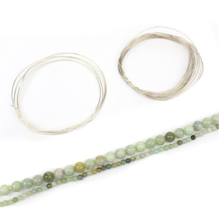 Drops of Summer: 4mm & 8mm multi colour Burmese Jadeite rounds with sterling silver wires