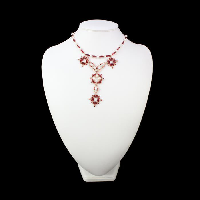 Regal Ruby; Cultured Pearl, Shell Pearl, Miyuki Seed Beads, Swarovski Bicones & Fireline
