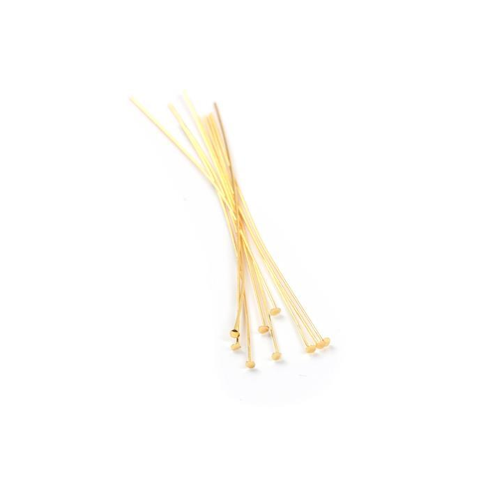 Gold Plated 925 Sterling Silver Headpins - 50mm (0.4mm) - (10pcs/pk)