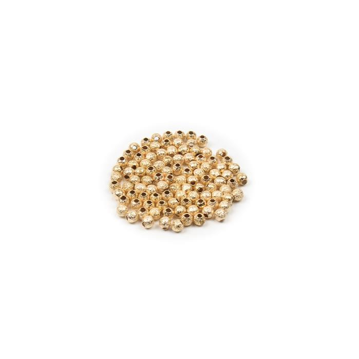 Gold Coloured Brass Stardust Round Beads - 3mm (100pcs/pk)