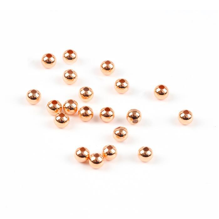 Rose Gold Plated Sterling Silver Spacer Beads - 3mm (20pcs/pk)