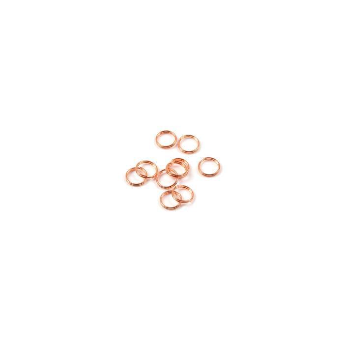 Rose Gold Plated 925 Sterling Silver Round Split Ring Jump Rings - 4mm (10pcs/pk)