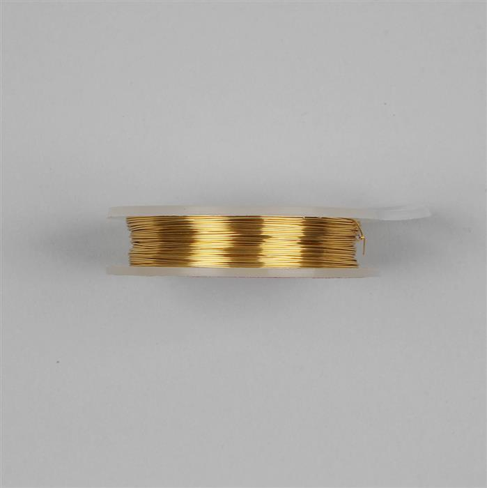 10m Gold Coloured Silver Plated Copper Wire 0.4mm