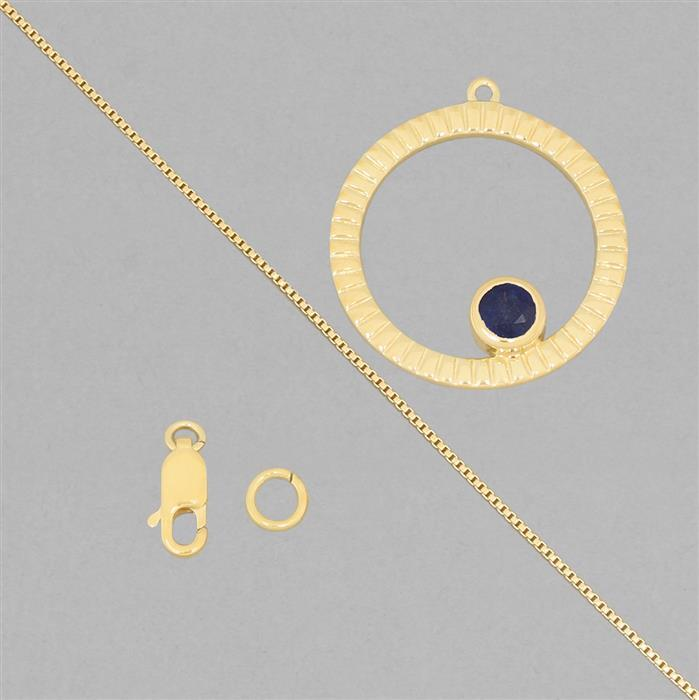 Birthstone Kit: Gold Plated 925 Sterling Silver Birthstone Necklace Kit Inc. 0.75cts Blue Sapphire Round Approx 5mm