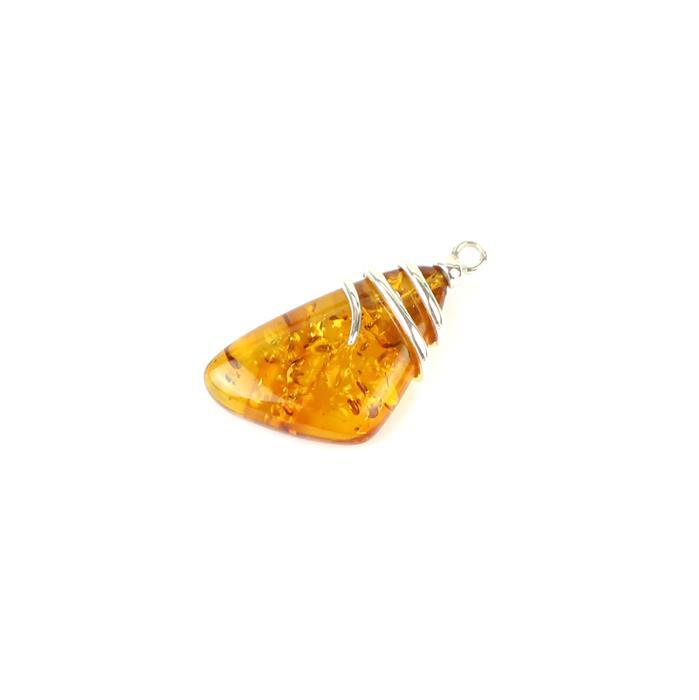 Baltic Cognac Amber Cabochon with 925 Silver Swirl Element Approx 30x16mm
