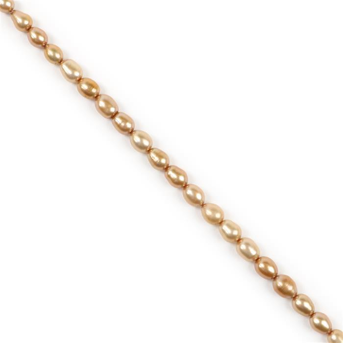 Champange Freshwater Cultured Pearl Rice Beads Approx 8x6mm, 38cm Strand