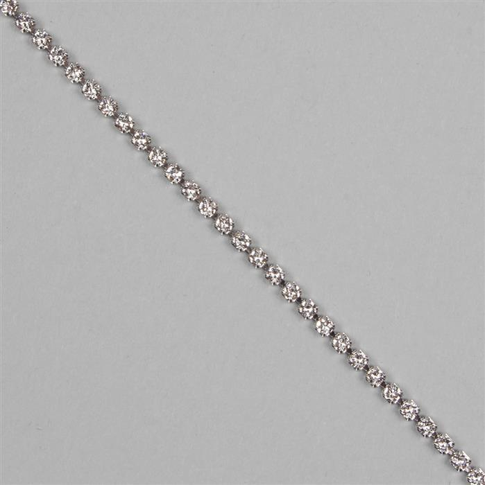 Crystal Rhodium Plating PP14, 27004 Swarovski Round Extended Cupchain (2.05mm) 50cm